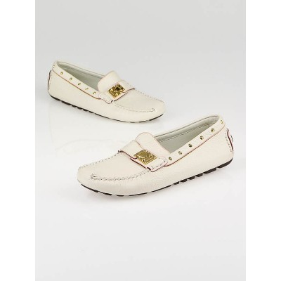 Louis Vuitton White Leather Suhali Driving Loafers Size 5.5/36