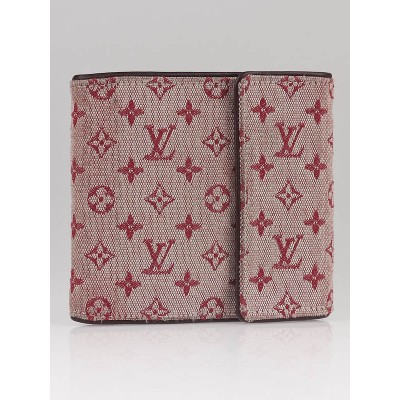 Louis Vuitton Cherry Red Monogram Mini Lin Compact Wallet