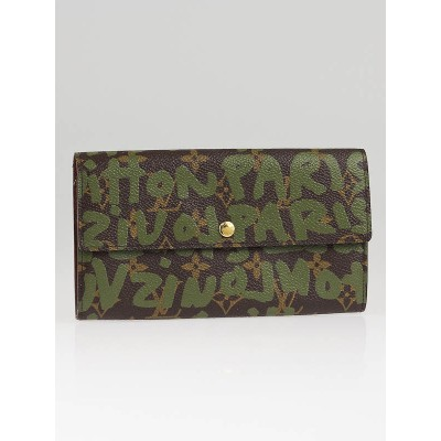 Louis Vuitton Limited Edition Khaki Graffiti Stephen Spouse Pochette Porte Monnaie Wallet