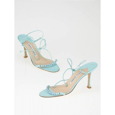 Manolo Blahnik Aqua Blue Leather Stone Strappy Sandals Size 6