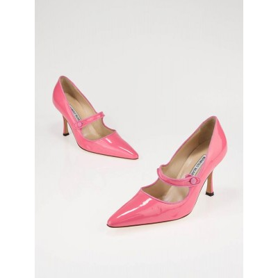 Manolo Blahnik Pink Patent Leather Mary Jane Pumps Size 6/36.5
