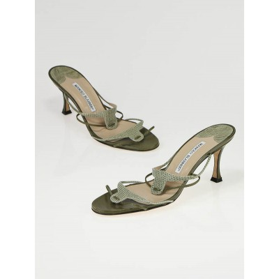 Manolo Blahnik Olive Leather and Lizard Strappy Sandals Size 6.5/37
