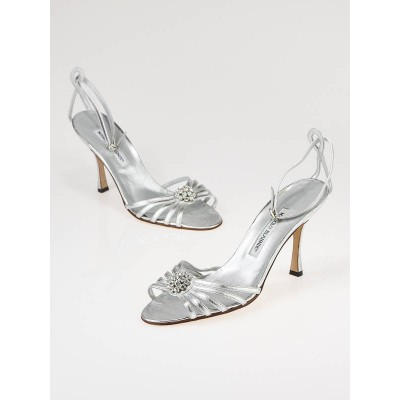 Manolo Blahnik Silver Leather and Rhinestone Ankle Strap Sandals Size 8/38.5