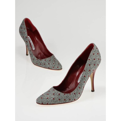 Manolo Blahnik Tweed and Red Polka Dots Pumps Size 8.5/39
