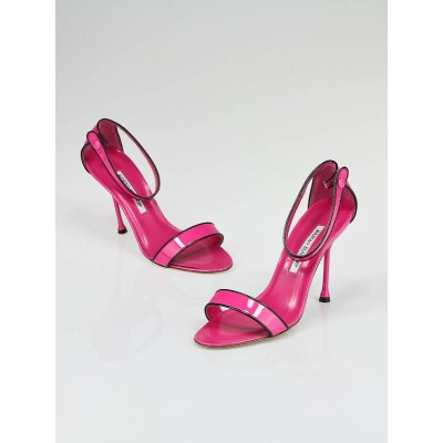 Manolo Blahnik Pink Patent Leather Morisa Ankle Strap Heels Size 8.5/39