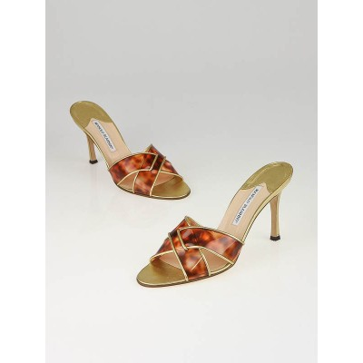Manolo Blahnik Tortoise Vinyl Gold Leather Tourgale Open-Toe Slide Sandals Size 9/39.5
