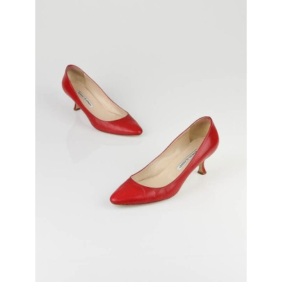 Manolo Blahnik Red Leather Kitten Heel Pumps Size 7.5/38