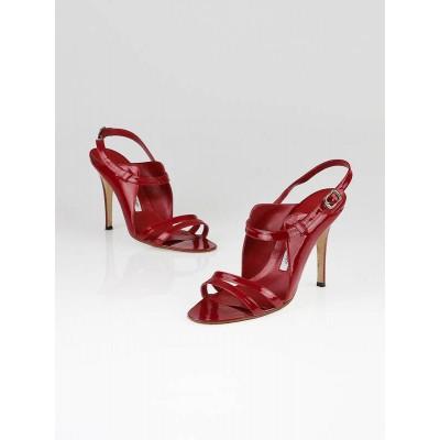Manolo Blahnik Red Patent Leather Dodo Sandals Size 8/38.5