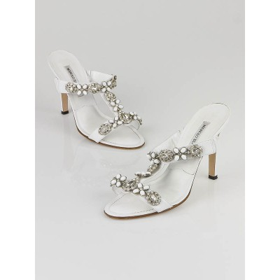 Manolo Blahnik White Leather Jeweled Slide Sandals Size 8/38.5