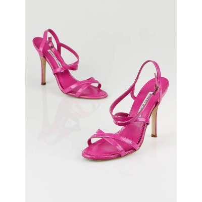 Manolo Blahnik Pink Patent Leather Bayan Strappy Sandals Size 6.5/37