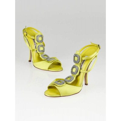 Manolo Blahnik Neon Yellow Satin Jeweled Sandals Size 5/35.5