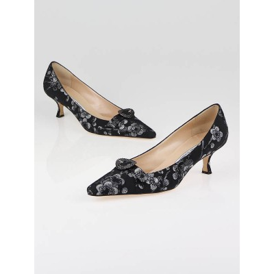 Manolo Blahnik Black Brocade Fabric Kitten Heels Size 9/39.5