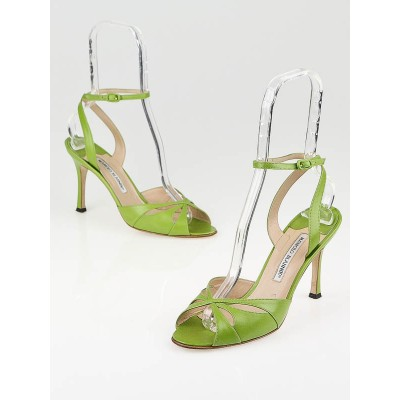 Manolo Blahnik Green Leather Ankle-Strap Peep-Toe Sandals Size 8/38.5