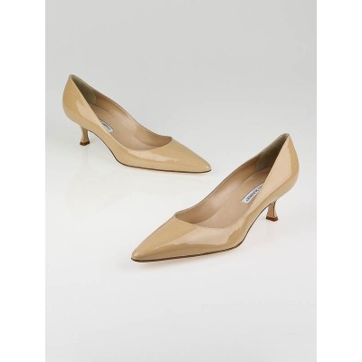 Manolo Blahnik Beige Patent Leather Srila Kitten Heel Pumps Size 11/41.5