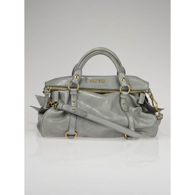 Miu Miu Grey Leather Fold-Over Bow Satchel Bag