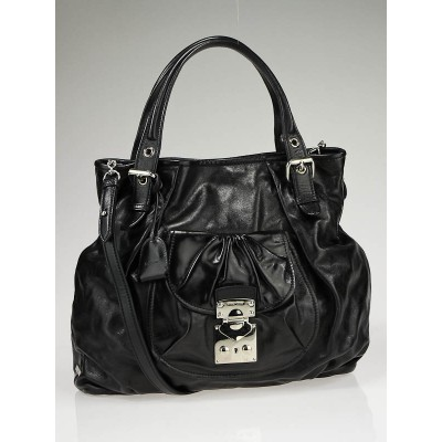 Miu Miu Black Leather Lux Metal Front Pocket Tote Bag