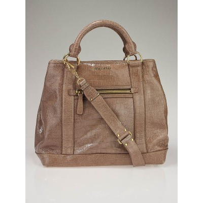 Miu Miu Mughetto Tan Embossed Leather St. Cocco Shopping Tote Bag