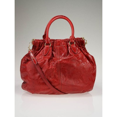 Miu Miu Red Nappa Leather Lux Large Shopping Tote Bag RR1396
