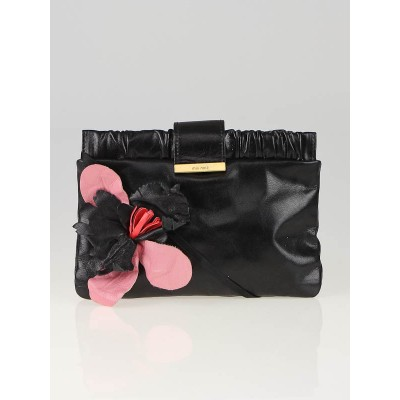 Miu Miu Black Lambskin Leather Flower Clutch Bag