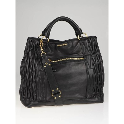 Miu MIu Black Leather Vitello Lux Large Tess Tote Bag