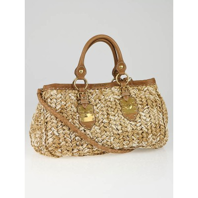 Miu Miu Brown Leather Trim Raffia Shopping Tote Bag