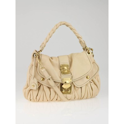 Miu Miu Tan Leather Coffer Matelass' Hobo Bag