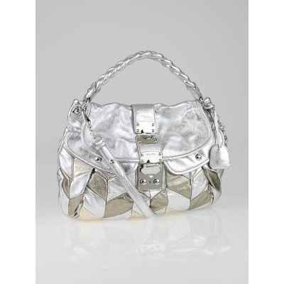 Miu Miu Silver Leather Harlequin Patchwork Coffer Matelass' Hobo Bag