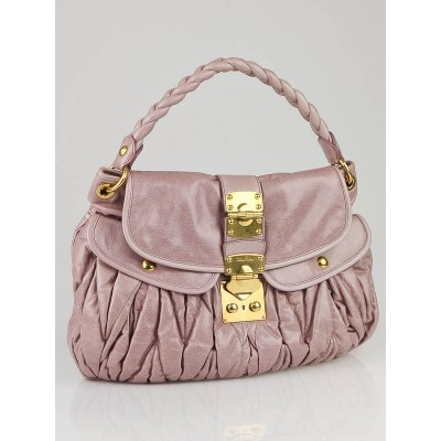 Miu Miu Light Pink Leather Coffer Matelass' Hobo Bag