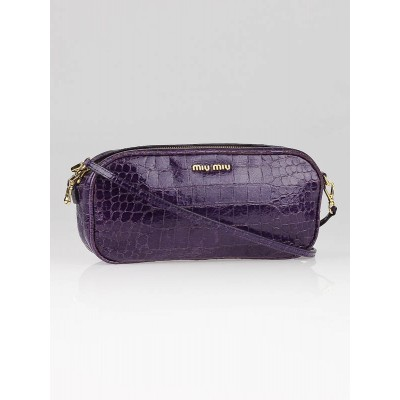 Miu Miu Purple Croc Embossed Patent Leather Crossbody Bag
