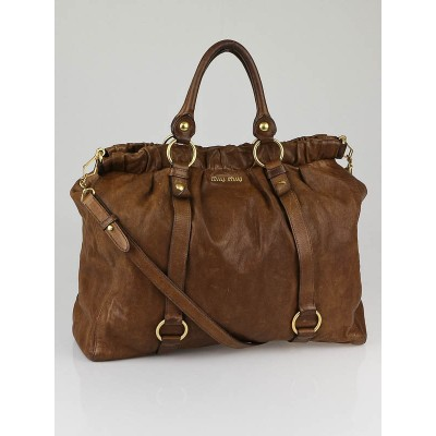 Miu Miu Brown Nappa Leather Large Shopping Bag