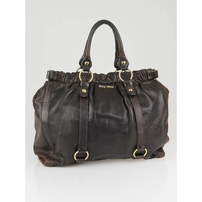 Miu Miu Dark Brown Nappa Leather Large Shopping Bag