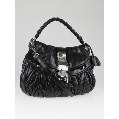Miu Miu Black Leather Coffer Matelasse Lux Hobo Bag