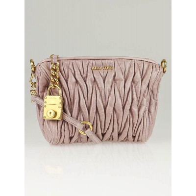 Miu Miu Mughetto Pink Matelass' Lux Charm Small Shoulder Bag