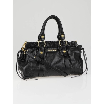 Miu Miu Black Leather Vitello Lux Top Handle Bag