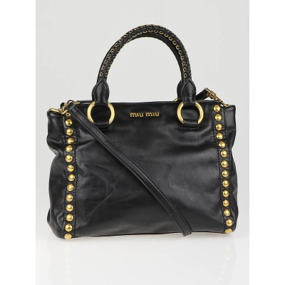 Miu Miu Black Leather Studded Bauletto Aperto Tote Bag
