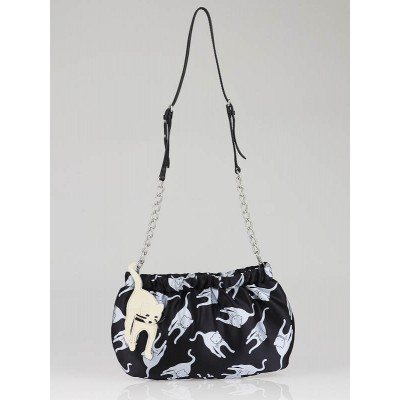 Miu Miu Black Satin Duchesse Cat Evening Bag 5N1563