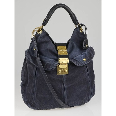 Miu Miu Blue Distressed Denim Hobo Bag