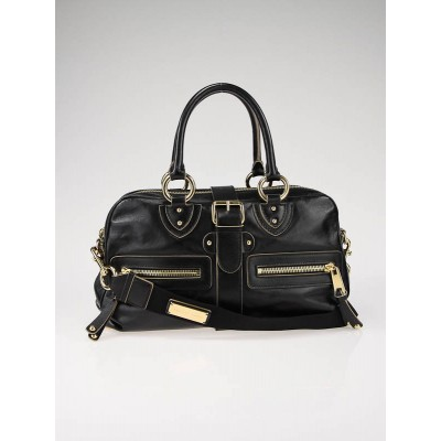 Marc Jacobs Black Kangaroo Leather Venetia Satchel Shoulder Bag