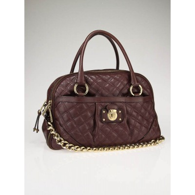 Marc Jacobs Cognac Quilted Leather Bowler Bag
