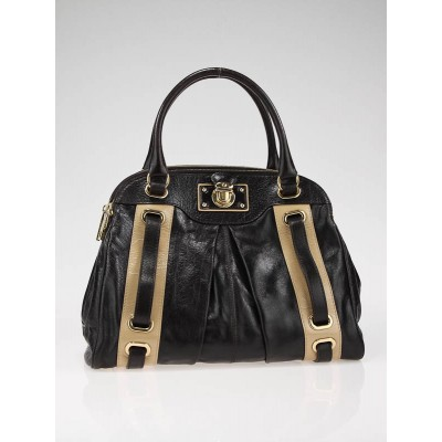 Marc Jacobs Dark Brown Leather Striping Hudson Tote bag