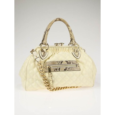 Marc Jacobs Ivory Quilted Canvas and Python Stam Bag