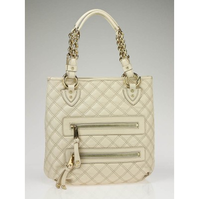 Marc Jacobs Ivory Leather Quilted Classic Leather Zipper Tote Bag