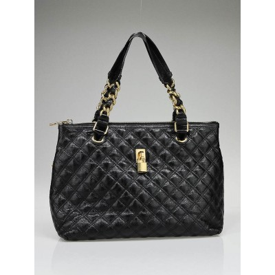 Marc Jacobs Black Lacquered Quilted Leather Natasha Bag
