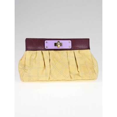 Marc Jacobs Lemon Quilted Leather Color-block Soft Pouch Clutch Bag