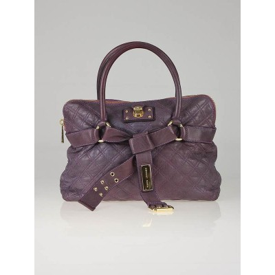 Marc Jacobs Plum Quilted Leather Bruna Belted Tote Bag