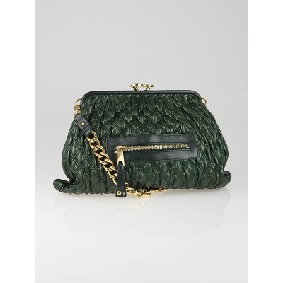 Marc Jacobs Emerald Green Elastic Quilted Calfskin Leather Mina Stam Bag
