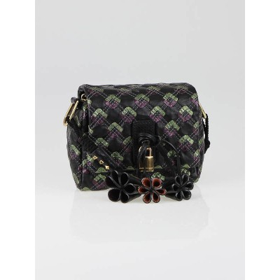 Marc Jacobs Black Multicolor Quilted Leather Memphis Robert Debbie Shoulder Bag