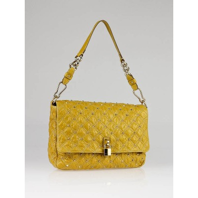 Marc Jacobs Yellow Quilted Printed Python Stardust Beat Bag
