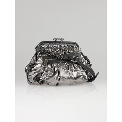 Marc Jacobs Platinum Vinyl and Leather Parachute Little Stam Bag
