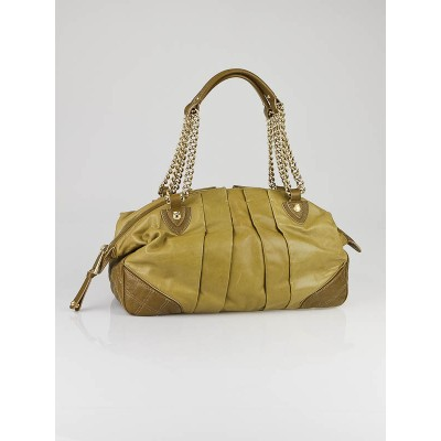 Marc Jacobs Olive Leather Mix Quilted Bowler Bag